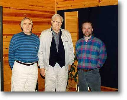 Kurt Kaiser, George Beverly Shea, and Brian, recording the Starsong - Sparrow ECHOES OF MY SOUL series